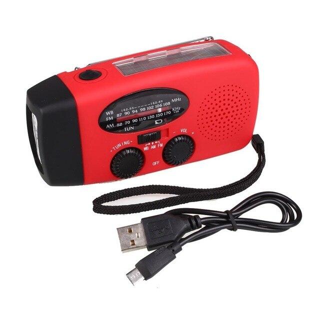 Новый Переносной Солнечной Радио Рукоятка Self Powered Телефон Зарядное Устройство 3 СВЕТОДИОДНЫЙ Фонарик AM/FM/WB Радио Водонепроницаемый чрезвычайная Выживания Красный