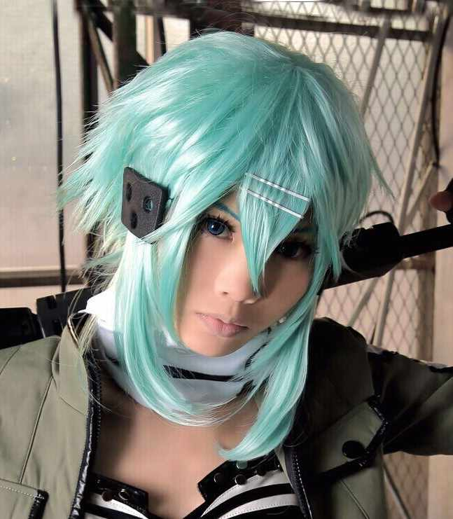High Quality Sword Art Online Sword Sinon Wig Asada Shino Blue 40cm Heat Resistant Synthetic Hair Cosplay Wigs + Wig Cap