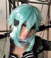 De espada de calidad en línea de arte espada Sinon peluca Asada Shino azul 40cm resistente al calor sintético Cosplay del pelo pelucas + peluca Cap