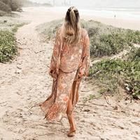 TEELYNN Kimono Cardigan long Women robe 2019 floral print Boho blouse and shirt beach wear summer women blouses Gypsy wrap Blusa