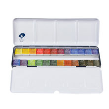 Rubens solid watercolor paint tin box clear new 12/24/48 color portable  block art supplies