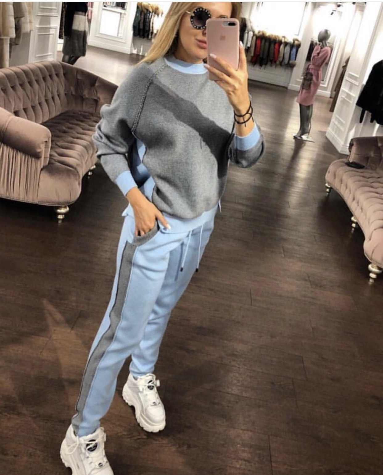 2019 Women's Knit tracksuits women two piece set Fashion Loose Sweater Feet Pants Two-piece Sportsuit 2 piece outfits for women