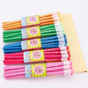 Image 1 - 100Pcs Houten Potlood Lot Candy Kleur Potloden Met Gum Leuke Kids School Office Schrijven Levert Tekening Koreaanse Potlood Graphite