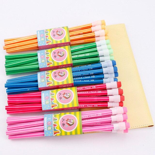 100Pcs Houten Potlood Lot Candy Kleur Potloden Met Gum Leuke Kids School Office Schrijven Levert Tekening Koreaanse Potlood Graphite