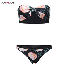 JOYMODE Trägerlosen Bikini Bogen Badeanzug Zwei Stück Gepolsterte Low Waist Strand Tragen Badeanzug Frauen Druck Blumen Maillot De Bain