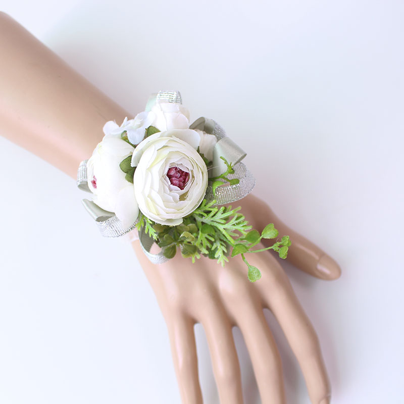 Wrist Corsage Bracelet wrist flowers artificial flowers rose  (14)