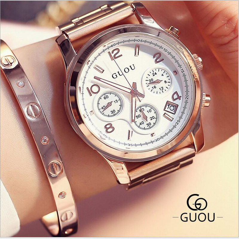 GUOU 2017 Luxury Diamond top Women Watches Fashion Shiny Rhinestone Watch Clock Ladies Watch saat relogio feminino reloj mujer sinobi ceramic watch women watches luxury women s watches week date ladies watch clock montre femme relogio feminino reloj mujer