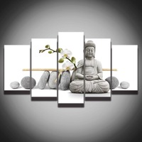 5 Panel Large HD Printed Oil Painting Stone Buddha Canvas Print Art Home Decor Idea Wall