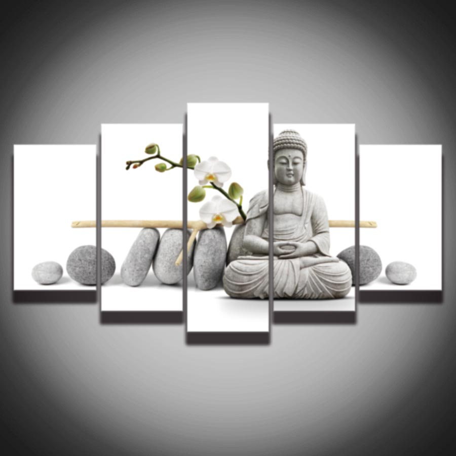 Home Decor Websites For Cheap: Cheap 5 Panel Large HD Printed Oil Painting Stone Buddha