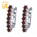 GemStoneKing 1.68 Ct Round Natural Red Garnet  Earrings Solid 925 Sterling Silver Lever Back Earrings Women Jewelry 2016 New