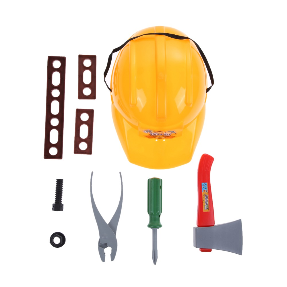 Kids Engineer Pretend Play Toys Hat Simulate Ax Clamp Screwdriver Screws Tools Set Kids Playing House Toy K5BO
