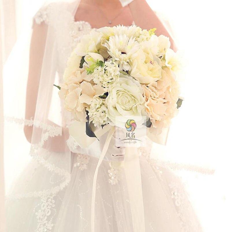 Nouveau fait à la main mariée demoiselle d'honneur Bouquet Simulation mariage Floral artificiel blanc Rose mariée tenant des fleurs hortensia fleur