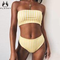 PLAVKY 2019 Ретро пикантные желтые полосатые без бретелек бандо Biquini Cut с высокой талией плавательный ванный комплект купальный костюм для женщи...