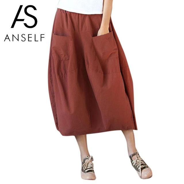 45d5bafe05f Anself Vintage Women Mid-calf Skirt Cotton Elastic Waist Plus Size Maxi  Long Skirt Casual Loose Baggy Skirts Orange Green Black