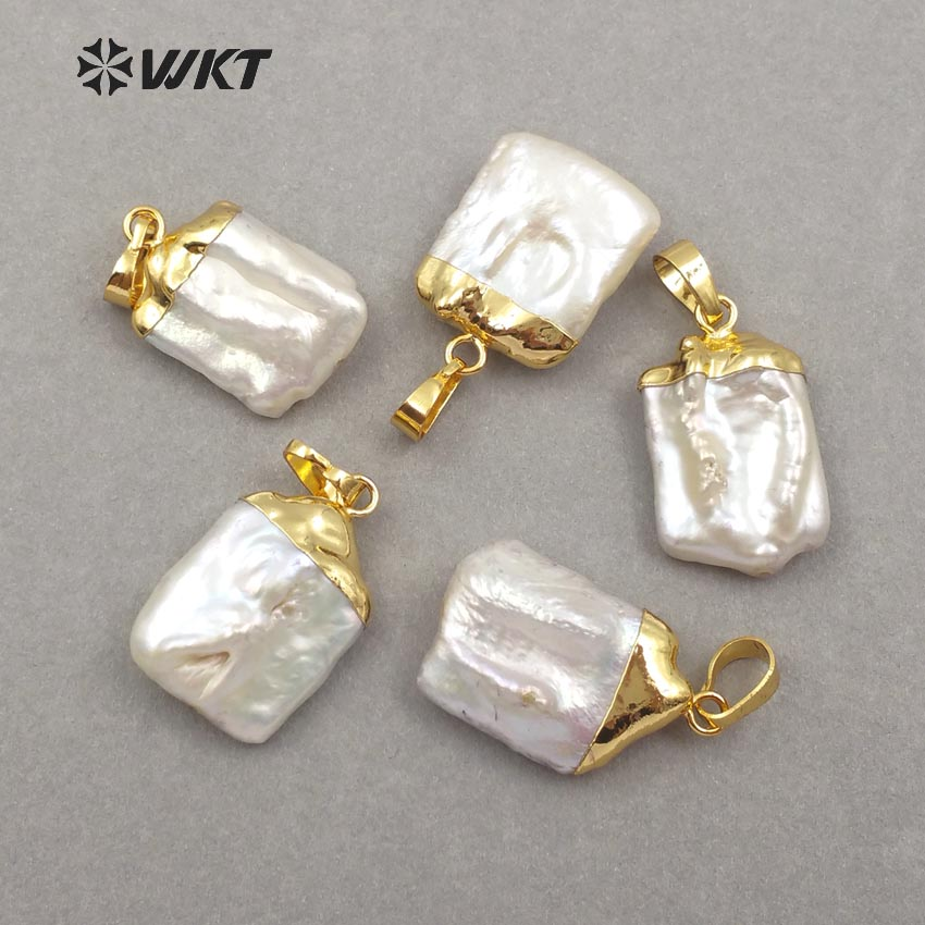 WT JP071 WKT Wholesale high quality natural pearl pendants square shape pendants for lady girl jewelry