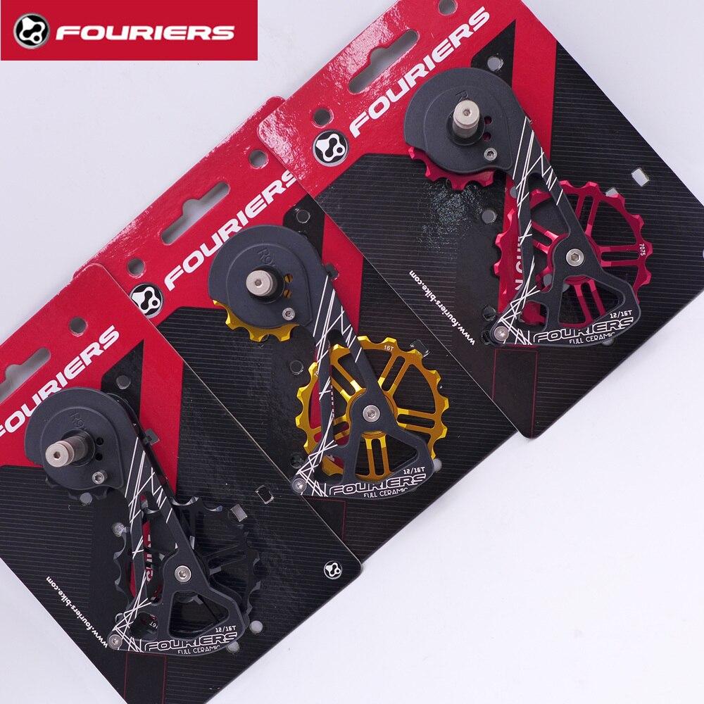 FOURIERS CT DX007 Alliage Système OSPW Pour SHIMANO R9100/R9150/R8000/R8050 Rouge Noir de Roue De Poulie Surdimensionné roulement en céramique