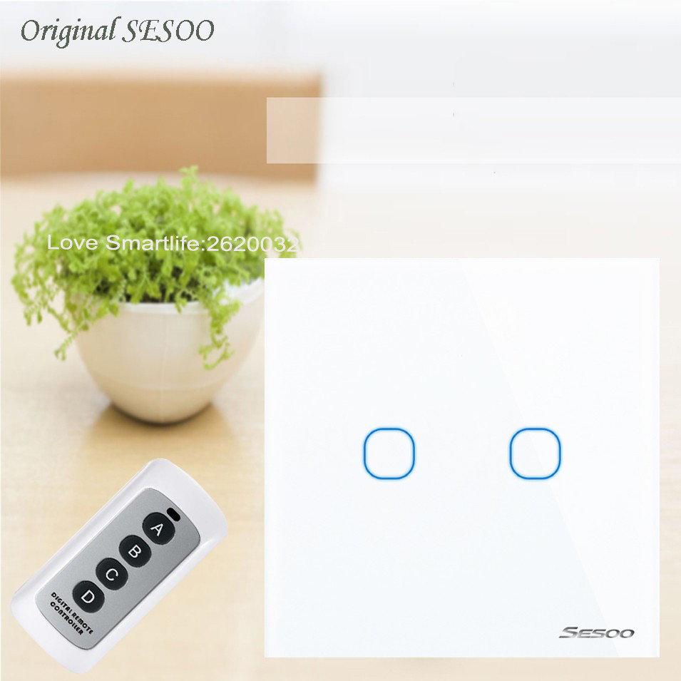 EU Standard SESOO Remote Control Switch 2 Gang 1 Way,RF433 Smart Wall Switch,Wireless Remote Control Touch Light Switch 110-240V eu uk standard sesoo remote control switch 3 gang 1 way wireless remote control wall touch switch light switch for smart home