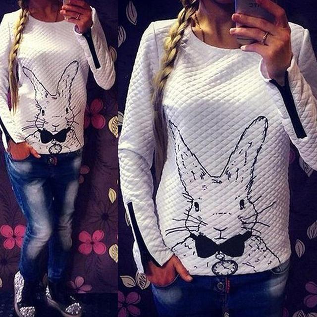Женщины Femal Зима Кролик Отпечатано С Длинным Рукавом Пуловер Топы Пиджаки Рубашки Свитера S, M, L, XL, XXL
