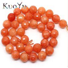b6783391a464 Natural facetadas naranja Calcedonia piedra redonda del grano flojo para la  joyería que hace 15