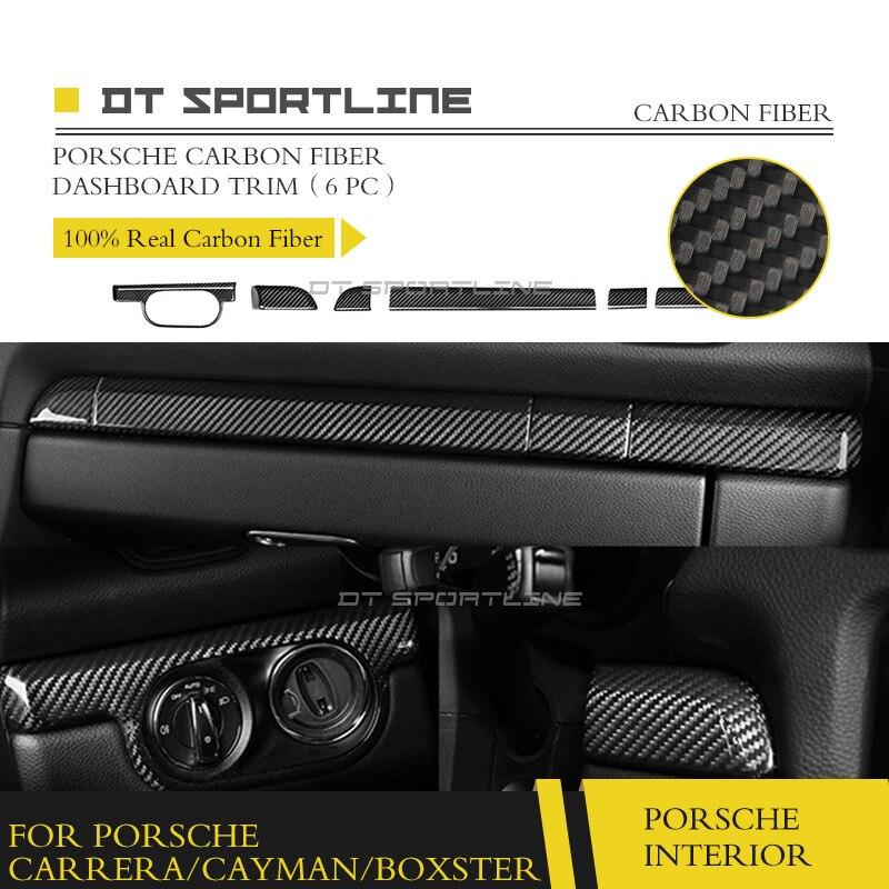 100% vraie Fiber de carbone pour Porsche garniture intérieure Carrera Boxster Cayman 911 981 718 Kit tableau de bord panneau de porte 2013-2017
