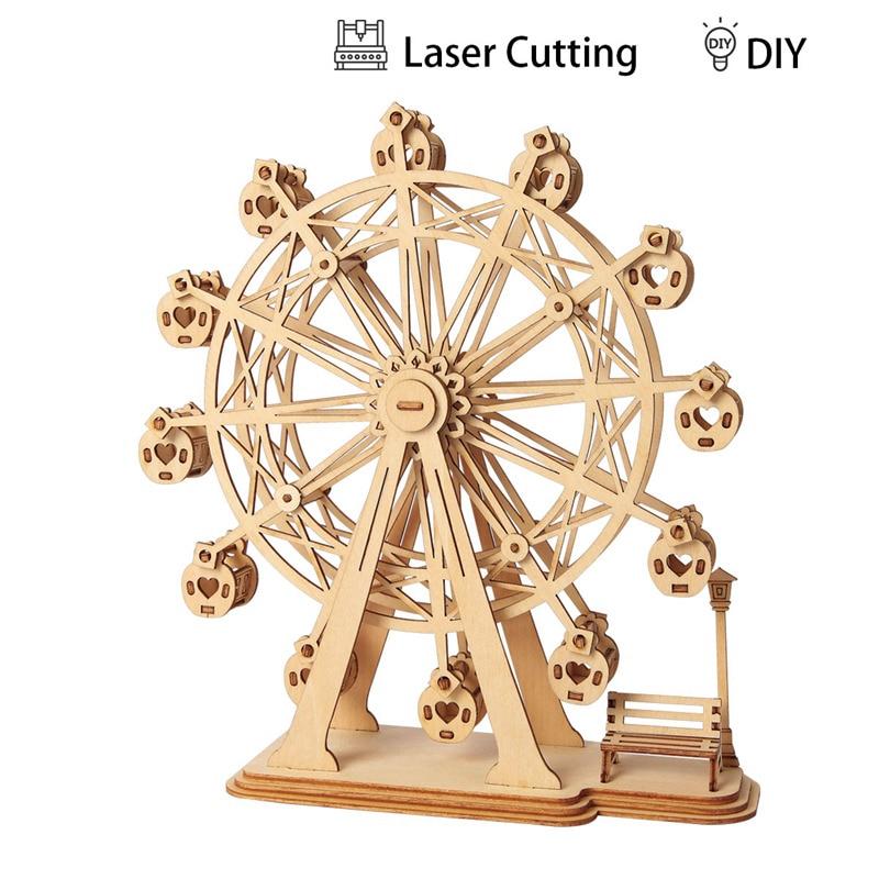 Robotime DIY 3D Laser Cutting Wooden Ferris Wheel Puzzle Game Gift for Children Kids Model Building Kits Popular Toy TG401 laser cut ferris wheel
