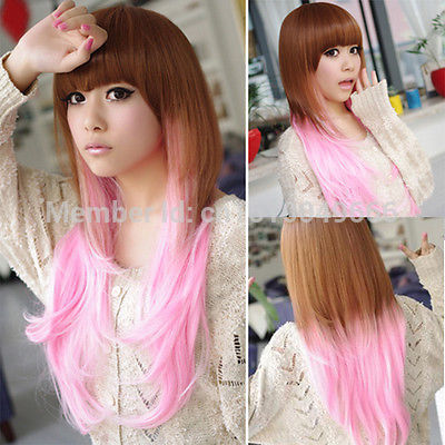 Parrucca NAVE>>> A2351349 Frauen braun + rosa Parrucca Cosplay perruque Gelockt Lang Haar Volle PARRUCCA