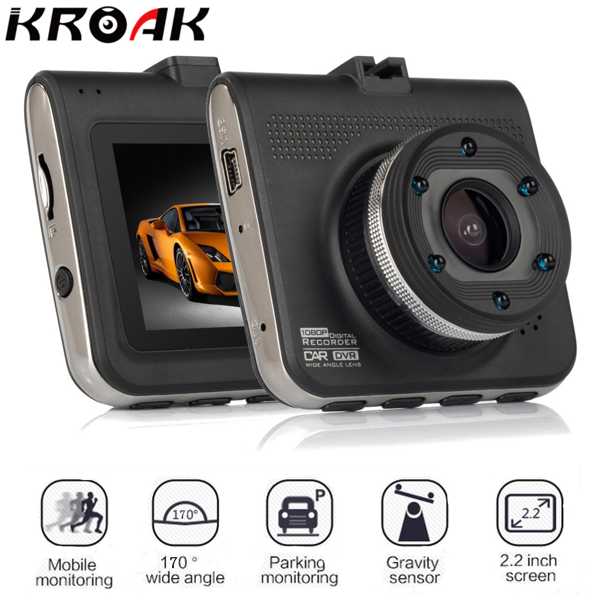 Universal 2.2 Inch Car DVR Full HD 1080P 170 Degree Parking Monitor Video Registrator Camcorder Camera(China)