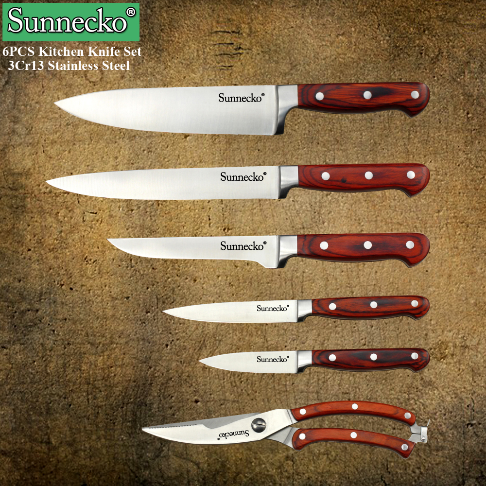 high quality kitchen knives reviews new sunnecko 6pcs kitchen knife set high quality chef 23927