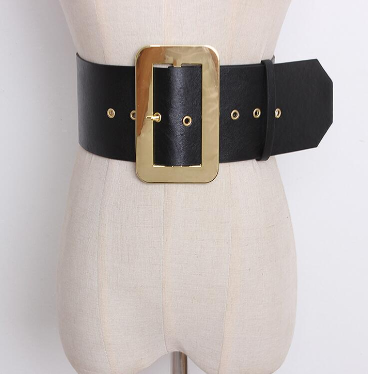 Women's Runway Fashion Gold Buckle PU Leather Cummerbunds Female Dress Corsets Waistband Belts Decoration Wide Belt R1410