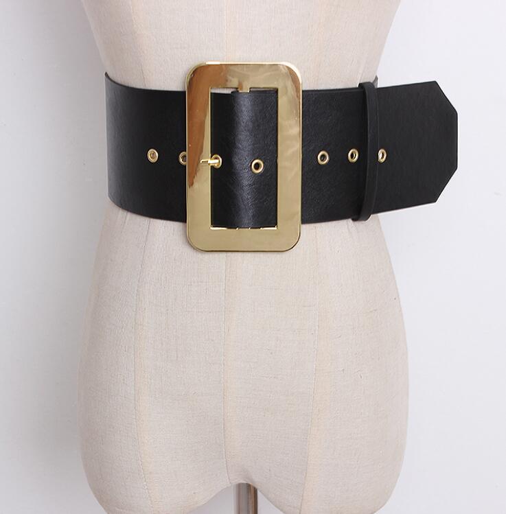 Women's Runway Fashion Gold Buckle PU Leather Cummerbunds Female Dress Corsets Waistband Belts Decoration Wide Belt R1410