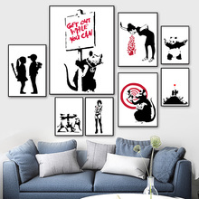 Banksy Nordic Posters And Prints Wall Art Canvas Painting Black White Pictures For Living Room Scandinavian Home Decor