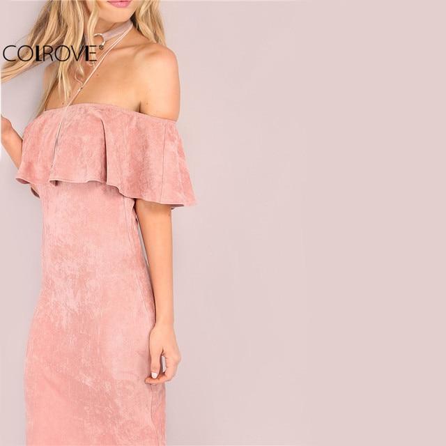 COLROVIE Femme Parti robes De Soirée Élégantes Sexy Club Robes Dos Nu Midi Rose Faux Daim Hors De L'épaule À Volants Robe