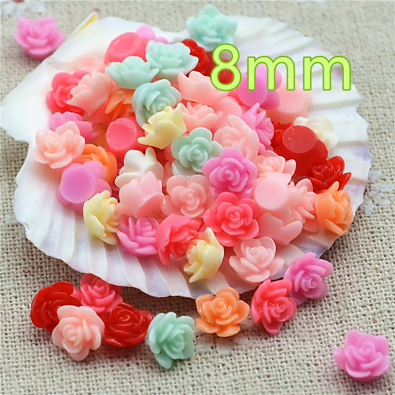 100pcs 8mm Mixed Color Small Flower Resin Flatback Cabochon DIY Jewelry/phone Decoration No Hole