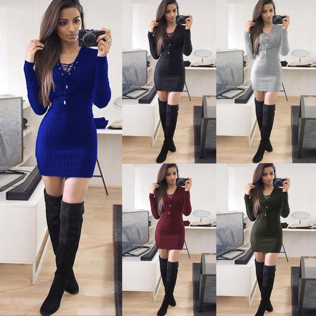 Sexy Women winter LONG Sleeve sweater dress Fashion Bodycon Lace up Mini  Dress Party casual 2018 autumn female fashion Vestidos c9e7cdd05