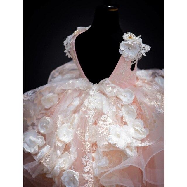 2017 детское розовое Пышное Платье для девочек 3d цветочное