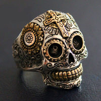 Sterling Silver Biker Sugar Skull Rings For Men 19g Solid Handcrafted Silver 925 Chunky Mens Ring