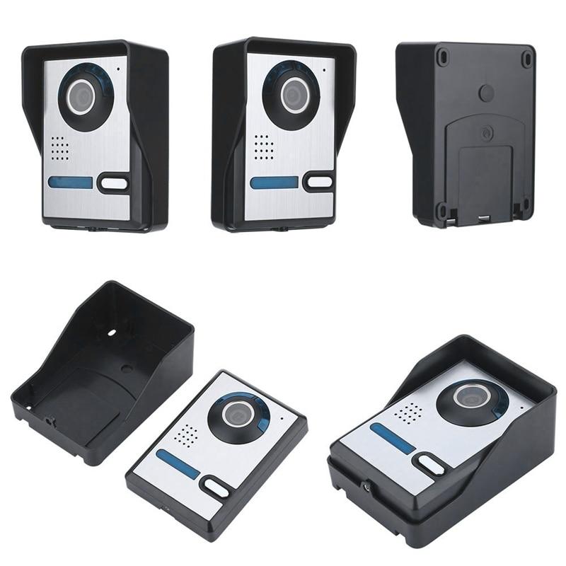 Mountainone 7-Inch Display Cavo Video Campanello Del Telefono A Raggi Infrarossi Antipioggia Wireless App Sbloccare Citofono Sistema di Nero + Argento Abs