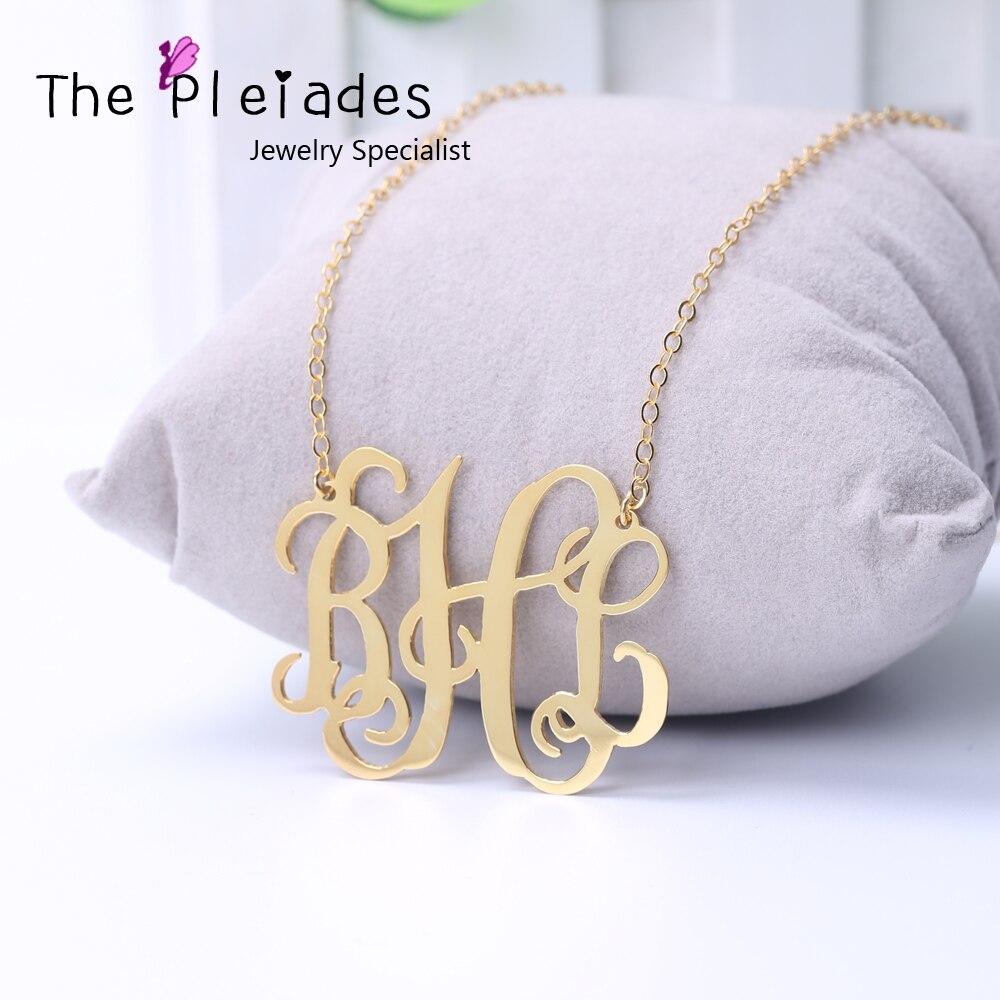 2.5 pouces monogramme collier personnalisé grand monogramme pendentif déclaration collier Hip Hop bijoux 925 solide argent or plaque