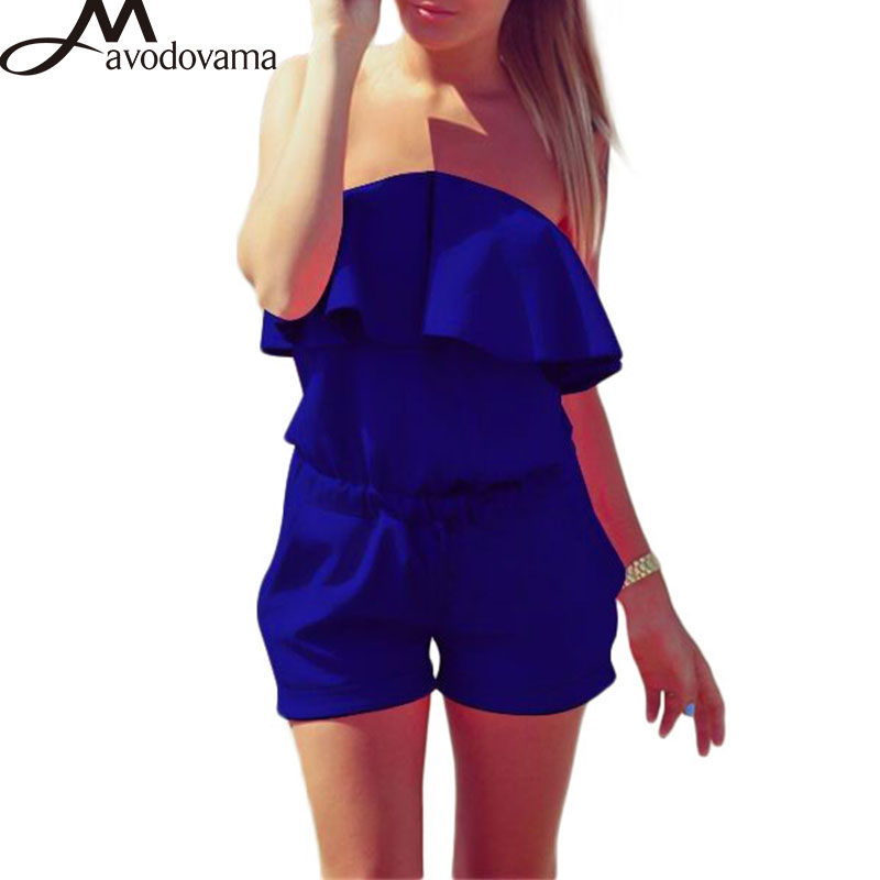 AVODOVAMA M Sexy Off Shoulder Strapless Fashion Casual High Street Solid Pocket Playsuits Plus Size ...