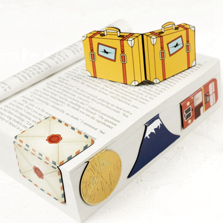 Creative Vintage Design Travel Theme Magnetic Material Bookmarks 3*5cm Cool Book Marker Gift 1 Piece Free Shipping