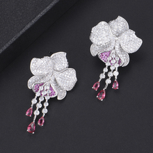 SisCathy Mismatch Trendy Cubic Zirconia Luxury Flower Stud Earrings American Wedding Party Earring Jewelry for Women