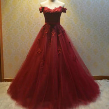 Long Red Puffy Dress Burgundy Corset Prom Dress 2017 Plus Size Party Dress