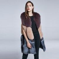JKP Genuine fox fur vest winter women's coat long multi color stitching fur vest warm collar 2018 new discount coats HPS 003