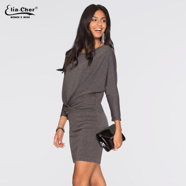 Elia-Cher Elegant Batwing Sleeve Casual Dress For Evening & Parties – Including Plus Sizes
