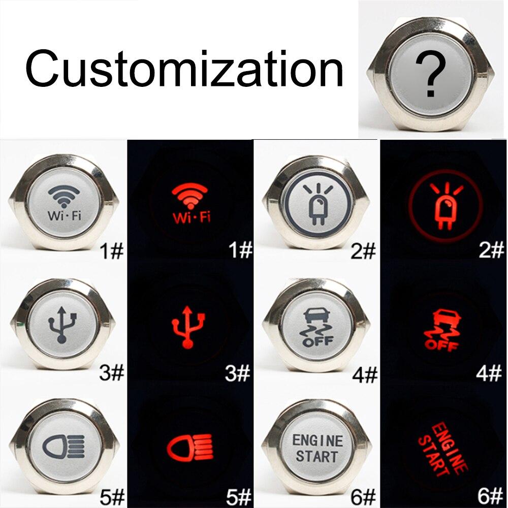 19mm Customization Button Metal Brass Rhodium Plating Push Button Switch Ring Lamp Flat Round Latching/Momentary Fans Light