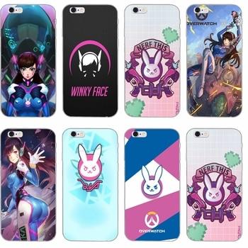popular game overwatch OW D Va Slim Soft phone case For Huawei Honor 7 4c 5x v8 Mate 7 8 9 P7 P8 P9 P10 Lite plus 2017 Y6 Pro