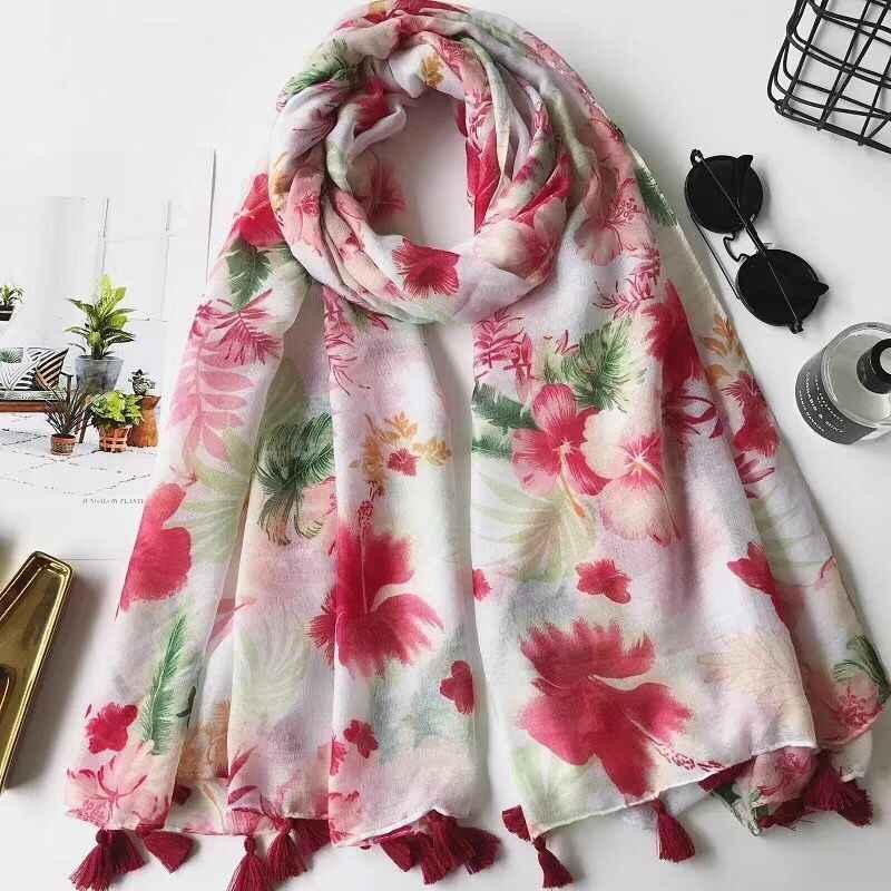 Alta qualidade moda feminina de 2018, lenço na cabeça, lenço estilo Primavera, hijab Muçulmano, lenço de flores, xales e lenços, hijab floral, envoltório da cabeça, cape