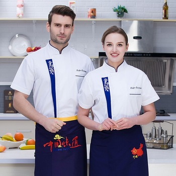 Chef Service Summer Short Sleeve Clothing White Breathable Kitchen Restaurant Coats Uniform Tool