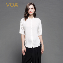 VOA 2017 Summer Silk Casual White Blouses Women Blusas Feminina Half Sleeve Solid Shirt Female B7063