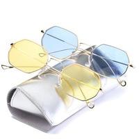 New Fashion Hexagon Sunglasses Women New Brand Designer Sunglasses Men Geometry Sunglass Female Mirror Sunglasses Blue